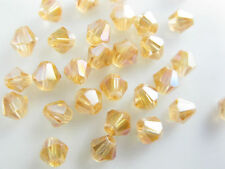 200pcs Gold Champagne AB Glass Crystal Faceted Bicone Beads 4mm Spacer Findings