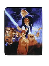 "Disney Star Wars Plush Throw Blanket 60"" Luke Han Solo Princess Leia Darth Vader"