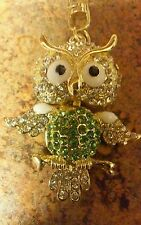 Cute Owl Keychain/Bag Charm Goldtone with Green Crystals and Moving Head NWOT