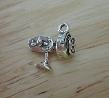 1 Sterling Silver 3D 15x15mm Fish Fishing Reel for Rod Charm