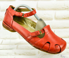DR MARTENS Red Leather Womens Casual Shoes Ballerinas Sandals Size 7 UK 41 EU