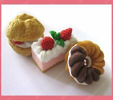 Made in Japan very cute & detail cake donut puff design eraser rubber 3pc set