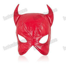 Faux Leather cat woman dominatrix Red mask/hood/head gear restraint Roleplay