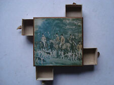 VINTAGE WOOD 4 WAY MATCHBOX HOLDER FOX HUNTING PRINT HORSES DOGS HOUNDS