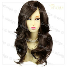 Wonderful wavy Long Dark Coffee Brown Curly Ladies Wigs skin top Hair WIWIGS UK