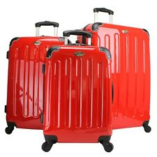 Swiss Case 4 Wheel Spinner ABS 3 Piece Luggage Set RED Hardside Suitcase New
