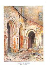 WWI Ruines Eglise de Sermaize Oise Aquarelle de Pierre Vignal B ILLUSTRATION