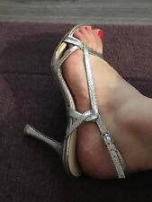 Women's Used Glitter Nine West Silver Heeled Sandals Size 37 / UK Size 4