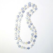 """PERIWINKLE BLUE PEARLY WHITE 50"""" MOTHER-OF-PEARL DOUBLE STRANDS DISCS NECKLACE"""