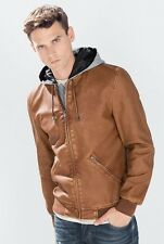 NWT ED Jordan Men Faux Leather Removable hooded jacket camel Motorcycle Zara *M