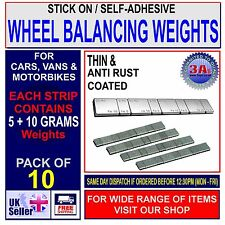 10 x STICK-ON/SELF-ADHESIVE WHEEL BALANCING WEIGHTS FOR VAN,CAR & MOTORCYCLE