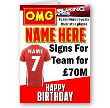 Personalised Any Age, Name, Team, Colour, Football, Soccer OMG A5 Birthday Card