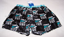 Port Adelaide Power Logo AFL Mens Black Printed Satin Boxer Shorts Size XL New
