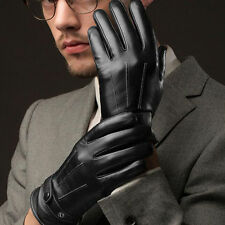 Fashion Black Men Winter Leather Motorcycle Full Finger Touch Warm Gloves XG