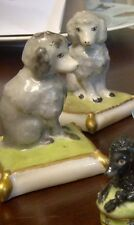 2 French Vintage Hand Painted Porcelain Poodles Poodle Sitting Cushion
