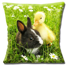 "Cute Pet Bunny Rabbit Black White with Yellow Duckling  16"" Pillow Cushion Cover"