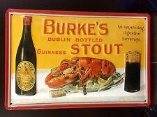 GUINNESS Burke's Stout Vtg Metal Pub Sign 3D Embossed Steel Decor,Irish