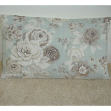 """20""""x12"""" Oblong Bolster Cushion Cover Beige Brown and Ivory Roses Duck Egg Blue"""