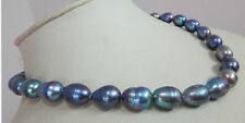 """New 8-9mm baroque tahitian black blue pearl necklace 18"""""""
