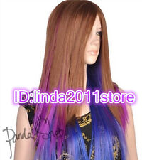Women ladies Long Brown Blue Purple Mixed Straight Synthetic Cosplay Wigs/wig