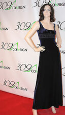 New LAUNDRY SHELLI SEGAL 2 XS Navy Blue Velvet Stretch Crystal Gown Dress