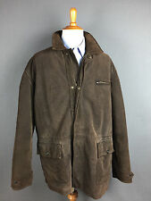 Polo Ralph Lauren Brown Leather Suede Lined Mens Field Barn Over Coat Sz L