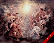 ANGELS PLAYING HEAVENLY MUSIC PAINTING BIBLE CHRISTIAN ART REAL CANVAS PRINT