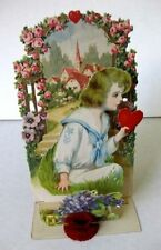 1920s Pull Down Pop Out Valentine's Day Card Display Boy with Heart for Sweetie