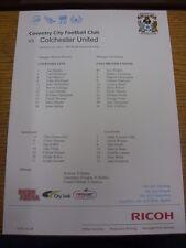 12/03/2013 COLORI teamsheet: COVENTRY CITY V Colchester United. a meno che non Flak