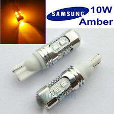 2 x Samsung 10W 10LEDs 2835SMD T10 194 W5W Wedge Bulbs CANBUS Error Free Amber