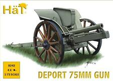 HAT Industrie 1/72 Deport 75mm Artillery Gun 8242 - Plastic Model  4 Guns.