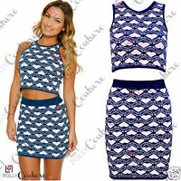 Womens Sexy Bodycon Clubbing Crop Top Skirt Jersey Two Piece Set Party UK Dress