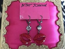 Betsey Johnson Vintage Marilyn Red Crystal Lips Mouth KISS ME Earrings VERY RARE