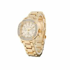 Luxury Men's Diamond Dial Quartz Gold Bracelet Watch Hiphop Bling Iced Out Wow A