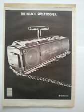 Hitachi Superwoofer boom box 1989 NME Trade Press Advert Poster Size