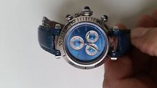 Cartier de Pasha Chronograph Unisex Watch. Rare blue dial