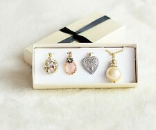NEW Pendant Charm Pearl Crystal Locket Chain Necklace Set Gift Dress