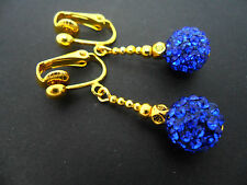 A PAIR OF PRETTY BLUE/GOLD SHAMBALLA STYLE  CLIP ON DANGLY EARRINGS. NEW.