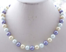 8mm Multicolor South Sea Shell Pearl Round Necklace 18'' AAA  k09