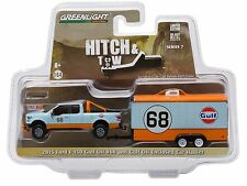 1:64 GreenLight *HITCH & TOW 7* GULF 2015 Ford F150 Pickup ENCLOSED CAR TRAILER