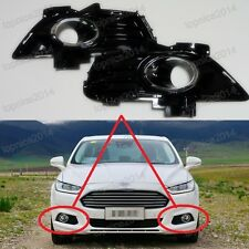 2Pcs Gloss Black Front Bumper Fog Light Housing Bezels For Ford Fusion 2013-2015