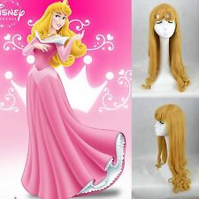 Hot Disney Princess Sleeping Beauty Aurora Long Curly Blonde Cosplay Wig