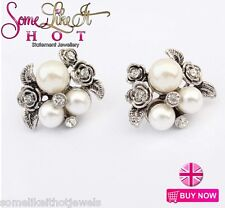 Statement Earrings Large Stud Faux Pearl Silver New Gift UK