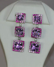 14K WHITE GOLD ART DECO AMETHYST RUBY PINK SAPPHIRE OMEGA DANGLE EARRINGS