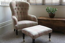 Bampton fireside easy chair and footstool In laura Ashley keynes cranberry