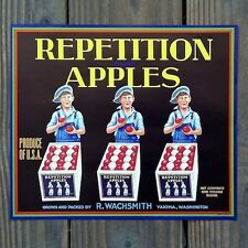 Vintage Original REPETITION APPLES fruit crate box label NOS never used