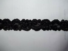 Elastic LACE 3/4 Shiny BLACK Embroidered Baby Headband Stretch Lace  5 yds.