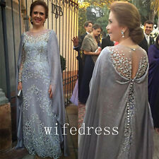 Cloak Mother Of Bride Dresses Crystals Long Sleeve Beading Gowns Lace Appliques