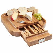 VonShef SQUARE IN LEGNO Cheese Board & 4pc Set coltelli con cassetto a scorrimento