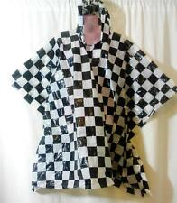1 Black White Checked Rain Waterproof Hood Poncho Light Weight Festival Camping